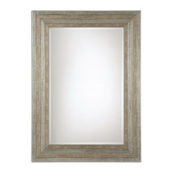 Uttermost - Uttermost 11217 B Hallmar Solid Wood Mirror with Light Silver Leaf Finish - Sold Wood Frame w/ Lightly Distressed Silver Leaf Finish