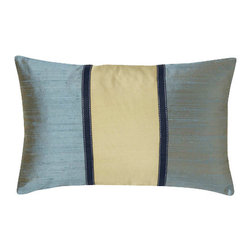 Jiti - Pieces Aqua Sage Pillow - Add a touch of tranquility to your home decor with our Pieces Aqua Sage Pillow. Perfect for any Room! This pillow is made of 100% Silk with 95% Feather and 5% down. Invisible zipper closure. Dry Clean Only
