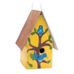 Bluebird House - Fashioned from materials like reclaimed barn wood and salvaged roofing tin that have been outside all their lives, this birdhouse should last and last. Antique barn wood is painted, distressed and assembled with screws so you can take it apart and clean it. This birdhouse is designed to attract bluebirds by having a 1-1/2 inch hole and lack of perch, since bluebirds like to cling rather than perch.