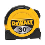 """Stanley Tools - Dwht33374 30 Ft. Tape Measure - Dewalt 1-1/8"""" WIDE TAPE RULES  Wide blade with 1/8"""" markings to speed -  up measuring jobs  10 feet of blade standout for increased reach  Duo-Durometer blade-lock for durability/comfort  Mylar(R) blade coating for long blade life  Hook grabs material from top and bottom  For carpenters, remodelers, framers, -  woodworkers and general contractors    DWHT33374 30 FT. TAPE MEASURE  SIZE:1-1/8"""" x 30 Ft."""