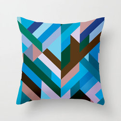 Right Angles Pillow Cover in Blue - Liven up your living space with this bold, colorful poplin pillow cover. With strong angles reminiscent of parquet inlay and a myriad of complementary tones, it's sure to suit your modern home's palette.