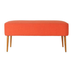 Safavieh - Kalina Bench - Recapturing the design aesthetic of the 1950's in dashing style, the Kalina Bench boasts spindle legs in birch wood finished in the look of the period's Danish furniture in natural oak. The straightforward lines and burnt orange color of the wool-poly upholstery recall scenes from the TV hit series, Mad Men. Use Kalina in front of a bed, in the living room, den and office for extra seating and Mid Century panache.
