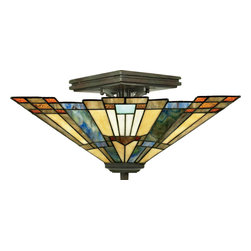 Quoizel - Quoizel Valiant Bronze Semi-Flush Mts. - SKU: TFIK1714VA - A classic geometric Arts & Crafts piece with handcrafted art glass in shades of sapphire blue, warm honey, amber and cream.