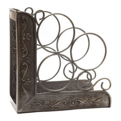Old Dutch Antique Embossed Victoria 3 Bottle Wine Rack Book End