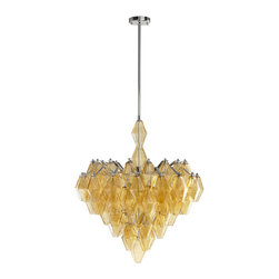 Kathy Kuo Home - Boho Modern Retro Deco Amber Diamond Drop 6 Light Chandelier - * 32 inches high x 27.5 inches wide x 27.5 inches deep