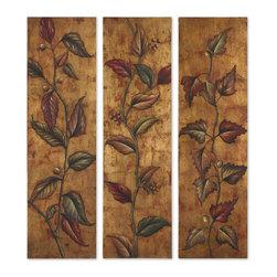 Uttermost - Uttermost 32156 Climbing Vine Art Panels Set of 3 - Uttermost 32156 Climbing Vine Art Panels Set of 3
