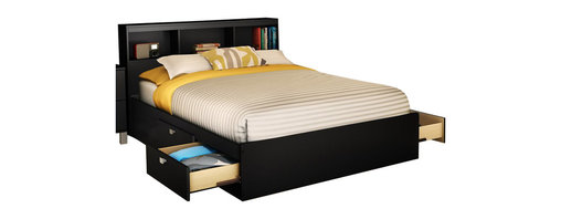 South Shore - South Shore Affinato Full Mates Storage Bed Frame Only in Solid Black Finish - South Shore - Beds - 3270211 - With its solid black finish and sleek contemporary lines the South Shore Affinato Mates Storage Bed will enhance any kids bedroom. Available in Full size, this bed box features four practical storage drawers with elegant angled handles. Combine it with the optional Affinato Full Bookcase Headboard for a complete bed. With unparalleled beauty and simplicity, the Affinato Mates Storage Bed is the ideal central fixture in your kid's bedroom.