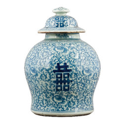 "Oriental Danny - Blue and white porcelain jar - Classic blue and white porcelain jar with Chinese character ""Hei"" meaning ""double happiness"". Great for display."