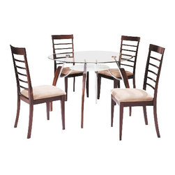 """Acme - 5-Piece Martini Collection Cherry Finish Wood and Metal Dining Table Set - 5-Piece Martini collection cherry finish wood and metal dining table set with round glass top. This set features a 45"""" dia. beveled glass top with chrome finish metal on the legs with a frosted lower glass shelf, 4 - side chairs are cherry finish wood with fabric padded upholstered seat. Chairs measure 39"""" H at the back. Some assembly required."""