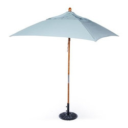 California Umbrella 6-ft. Wood and Fiberglass Sunbrella Patio Umbrella - Additional features: Can easily shade patio tables up to 36 inches wide Umbrella stands 99 inches high 5-year warranty against fading on Sunbrella Use a base of 35 lbs. or more with a table Use a base of 50 lbs. or more for freestanding use The California Umbrella 6-ft. Square Commercial Grade Wood Patio Umbrella gives you the style you need in a size that you can manage. Now you don't need to buy an umbrella the size of a circus tent just to have something stylish on your patio. Constructed with a two-piece wooden pole and deluxe pulley lift system, this umbrella will be stylish and low maintenance. Should your umbrella fall over, you'll be thankful that it has ribs of fiberglass and reinforced fiberglass rib joints. Wooden ribs are fragile and tend to break when a patio umbrella falls over, but fiberglass is strong and flexible, and able to withstand more intense use. Stainless steel hardware will resist corrosion while exposed to the elements. Your new umbrella can easily shade a patio table that is up to 36 inches wide. This umbrella is ready for freestanding use, but you may want to purchase an additional base to add extra weight for windy environments. We recommend a base of 35 lbs. or more for use with a patio table, or a base of 50 lbs. or more for freestanding use. All Sunbrella products are backed by a 5-year warranty against fading. Sunbrella fabric is the easiest outdoor fabric to care for! Simply hose off when dirty or dusty, and spot clean with mild dish soap and water. For more stubborn stains, visit Sunbrella.com for a list of cleaning remedies. About California UmbrellaCalifornia Umbrella is known for producing high-end, quality patio umbrellas and frames for over 50 years. The California Umbrella trademark is immediately recognized for its standards in engineering and innovation among all the brands in the United States. As a leader in the industry, California Umbrella strives to provide you with products and service that will satisfy even the most demanding consumers. Its umbrellas are constructed to give the consumer many years of pleasure, and its canopy designs are limited only by the imagination. California Umbrella is dedicated to providing artistic, innovative, fashion-conscious, and high-quality products for all your needs. About Sunbrella FabricSunbrella fabric is breathable and water-repellant. If kept dry, it will not support the growth of mildew as natural fiber will. It's easy to clean, requiring simple dusting off and soap and water. Sunbrella fabrics have been tested to provide up to 98% UV protection, depending on depth of color. Whites and lighter colored fabrics provide less protection than darker fabrics. This protective factor is inherent to the product and will not diminish through use or exposure to the sun. Sunbrella furniture fabrics have been awarded the Seal of Recommendation by the Skin Cancer Foundation, an international organization dedicated to the prevention of skin cancer. Beautiful and durable, Sunbrella fabric is a name you can trust in your outdoor furniture.