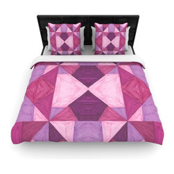 "Kess InHouse - Empire Ruhl ""Purple Angles"" Pink Geometric Cotton Duvet Cover (King, 104"" x 88"") - Rest in comfort among this artistically inclined cotton blend duvet cover. This duvet cover is as light as a feather! You will be sure to be the envy of all of your guests with this aesthetically pleasing duvet. We highly recommend washing this as many times as you like as this material will not fade or lose comfort. Cotton blended, this duvet cover is not only beautiful and artistic but can be used year round with a duvet insert! Add our cotton shams to make your bed complete and looking stylish and artistic!"