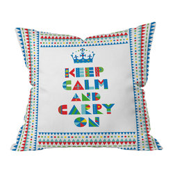 Andi Bird Keep Calm and Carry On Throw Pillow, 26x26x7