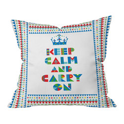DENY Designs - Andi Bird Keep Calm And Carry On Throw Pillow, 26x26x7 - With its childlike decorated block letters and colorful, animated border, this throw pillow is designed to lighten the mood when you are tempted to take things too seriously. Because there's no better modern lifestyle accessory than a positive attitude.