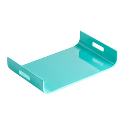Cyan Design - Monroe Tray, Turquoise Lacquer - Monroe tray - turquoise lacquer