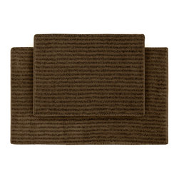 None - Xavier Stripe Chocolate 2-piece Bath Rug Set - Enjoy the plush feel of the Xavier Stripe bath and spa collection,while adding a classic note of design and color. These two brown rugs are created from durable,machine-washable nylon and feature non-skid latex backing for safety.