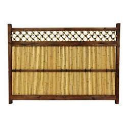 Oriental Furniture - 4 ft. x 5 1/2 ft. Japanese Bamboo Zen Garden Fence - Extra wide Japanese bamboo garden fence. Dark walnut frame surrounding bleached bamboo rods and a bamboo criss-cross lattice with decorative black ties. At just four feet high, perfect as a decorative fence along a pathway or near a seating area. Add a touch of the rustic Orient tradition to your yard or garden without blocking natural lighting.