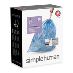 Simplehuman - simplehuman 50-Pack Custom Fit 18-Liter Can Liners - These custom-fit bag liners are designed to fit simplehuman 18-liter cans with no messy overhang or bunching. Extra-thick plastic and double-seam construction prevents rips and tears. Pull-tight handles make them easy to lift, tie, and carry.