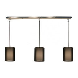 Three Light Brushed Nickel Organza Black Shade Island Light - This contemporary fixture uses three rectangular, black outer organza shades to allow a glimpse of the inner opaque shades, which emanate a soft glow. The hardware is finished in brushed nickel and includes telescoping rods to ensure a perfect hanging height. This fixture would be perfect for any contemporary space.