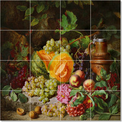Picture-Tiles, LLC - Still Life With Fruit And A Clay Jug Tile Mural By Josef Lauer - * MURAL SIZE: 32x32 inch tile mural using (16) 8x8 ceramic tiles-satin finish.