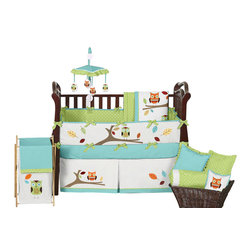 Sweet Jojo Designs - Hooty Turquoise and Lime 9-Piece Baby Crib Bedding Set by Sweet Jojo Designs - The baby bedding by Sweet Jojo Designs includes: comforter, bumper, dust ruffle, fitted sheet, toy bag, pillow, diaper stacker and 2 window valances.