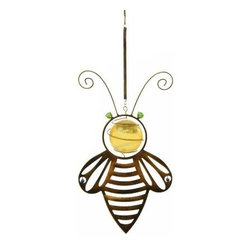 Toland Home and Garden - Solar Hanging Bee - A classic bumblebee design featuring a hammered antique brass-like finish that holds a golden solar orb in its center and accented with glass stones. The plastic orb absorbs light during the day to charge the solar panel within and glows at night, up to 8
