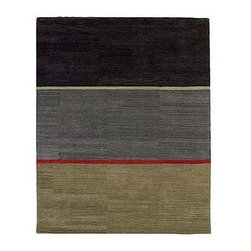 Design Within Reach - Slade Rug 8x10 | Design Within Reach - British designer Christopher Farr blends geometric sophistication and modernist notions of beauty with ancient rug weaving techniques in his five DWR-only rugs. The result is a series of elegant pieces that have the power of abstract canvases for the floor. Inspired by such painters as Mark Rothko and Ellsworth Kelly, Farr approaches the floor as the fifth wall to create omnidirectional fields of vivid color and harmonious balance that can enlarge the feeling of a room or bring balance and focus to the elements of space. Slade, named for the Slade School of Fine Art, provides a harmonious three-paneled field of warm and cool tones intersected by an arresting red stripe, and is eminently suitable for domestic or commercial environments. All Farr's designs are hand spun and handtufted of fine wool and manually dyed in small batches to create rich tonal nuances in the strands. Each piece is guaranteed to grow more beautiful with time as the wool's natural lanolin emerges and invigorates the surface, creating enhanced luster over the years. Made in India. DWR exclusive.