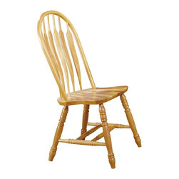 Sunset Trading - 22 in. Comfort Back Side Chair - Traditional windsor style. Curved, comfort back and scooped seat. Perfectly carved, turned legs. Large backrest and seating area to provide an ideal seating solution. Warranty: One year against manufacturer defects. Made from eco-friendly Malaysian oak. Light oak finish. Made in Malaysia. No assembly required. 22 in. W x 20.5 in. D x 41 in. H (17.95 lbs.)Complete your dining decor with the country charm of timeless casual dining chairs from the Sunset Trading - Sunset Selections Collection. Offering traditional classic beauty and style, yet always dependably functional, your family and friends will enjoy the seating comfort of these inviting relaxed dining chairs for years to come! This beautifully designed dining chair supplied by Sunset Trading will assure you many years of use and enjoyment.