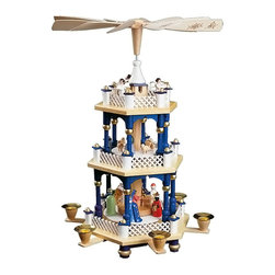 """Alexander Taron - 16727-Richard Glaesser Pyramid -3 Tiers -Nativity Scene - 17""""H x 11.5""""W x 11.5""""D - Richard Glaesser pyramid - natural wood nativity scene w/Holy Family and wise men on tier 1, shepherds - tier 2, angels - tier 3, hexagon-shape. Use No 29317 - or 29318."""