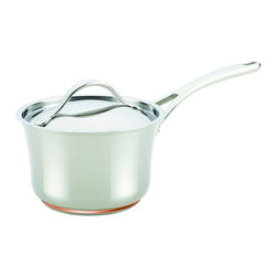Anolon - Anolon Nouvelle Copper Stainless Steel 3.5-quart Covered Saucepan - Form and function come together beautifully in this Anolon Nouvelle Copper Stainless Steel 3.5-quart covered saucepan. Crafted with copper on the bottom for optimum heat conduction,it also features a double full cap base.