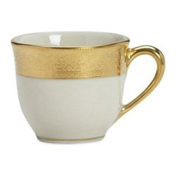 Lenox Westchester Demitasse Cup - The Lenox Westchester Demitasse Cup turns your afternoon teatime or after-dinner coffee into a special occasion. The fine, ivory white china of the cup is accented with a thick and gleaming gold band at the top. Intricate designs populate this 24-karat gold band, which then runs over to coat the cup's handle. It's dishwasher-safe, making it as practical as it is beautiful.About LenoxThe Lenox Corporation is an industry leader in premium tabletops, giftware, and collectibles. The company markets its products under the Lenox, Dansk, and Gorham brands, propelled by a shared commitment to quality and design that makes the brands among the best known and respected in the industry. Collectively, the three brands share 340 years of tabletop and giftware expertise.