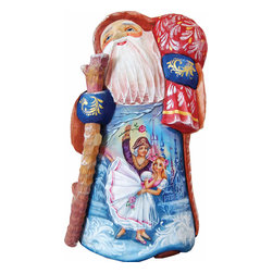 """Artistic Wood Carved Santa Claus Nutcracker Ballet Sculpture - Measures 8""""H x 3""""L x 4.5""""W and weighs 2 lbs. G. DeBrekht fine art traditional, vintage style sculpted figures are delightful and imaginative. Each figurine is artistically hand painted with detailed scenes including classic Christmas art, winter wonderlands and the true meaning of Christmas, nativity art. In the spirit of giving G. DeBrekht holiday decor makes beautiful collectible Christmas and holiday gifts to share with loved ones. Every G. DeBrekht holiday decoration is an original work of art sure to be cherished as a family tradition and treasured by future generations. Some items may have slight variations of the decoration on the decor due to the hand painted nature of the product. Decorating your home for Christmas is a special time for families. With G. DeBrekht holiday home decor and decorations you can choose your style and create a true holiday gallery of art for your family to enjoy. All Masterpiece and Signature Masterpiece woodcarvings are individually hand numbered. The old world classic art details on the freehand painted sculptures include animals, nature, winter scenes, Santa Claus, nativity and more inspired by an old Russian art technique using painting mediums of watercolor, acrylic and oil combinations in the G. Debrekht unique painting style. Linden wood, which is light in color is used to carve these masterpieces. The wood varies slightly in color."""
