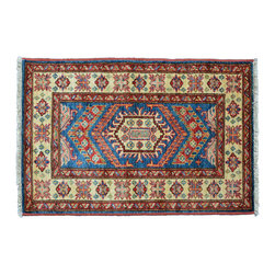 Area Rug, 2'X3' Tribal Design 100% Wool Super Kazak Hand Knotted Rug SH11243 - This collections consists of well known classical southwestern designs like Kazaks, Serapis, Herizs, Mamluks, Kilims, and Bokaras. These tribal motifs are very popular down in the South and especially out west.