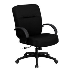 Flash Furniture - Hercules Series Big & Tall Office Chair with Arms and Extra Wide Seat - This chair has been tested to hold up to 400 lbs.! Not only will this chair hold the above average person, but it is amazingly comfortable. Chair will appeal for users of all heights and weights because of its comfort and sturdy construction.