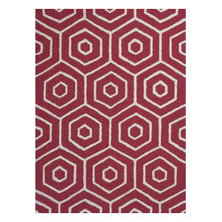 """Dimensions 0905 Red Concentro Rug - Dimensions 0905 Red Concentro 27"""" x 45"""". Hand-Tufted of 100% Polyester in Hi/Lo Pile with Cotton Backing. Made in China. Vacuum regularly & spot clean stains. Professional cleaning recommended periodically."""