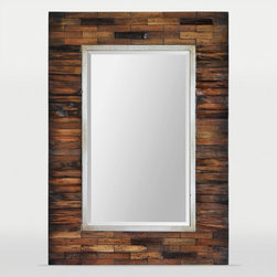 Ren-Wil - RenWil Pretoria Rectangular Mirror - Made of exotic dark brown pear wood  the Pretoria is a reflection of classical taste. This piece features a champagne silver inner frame and beveled mirror  and is backed with MDF.