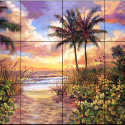 The Tile Mural Store (USA) - Tile Mural - Sunset - Kitchen Backsplash Ideas - This beautiful artwork by Laurie Snow Hein has been digitally reproduced for tiles and depicts a sunset on a secluded southern beach.  Beach scene tile murals are great as part of your kitchen backsplash tile project or your tub and shower surround bathroom tile project. Waterview images on tiles such as tiles with beach scenes and sunset scenes on tiles.  Tropical tile scenes add a unique element to your tiling project and are a great kitchen backsplash  or bathroom idea. Use one or two of our beach scene tile murals for a wall tile project in any room in your home for your wall tile project.