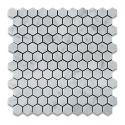 "Tiles R Us - Carrara White Marble Honed 1 Inch Hexagon Mosaic Tile - 6"" X 6"" Sample Piece - - Italian Carrara White Marble 1"" Hexagonal Honed (Matte Finish) Mosaic Tile."