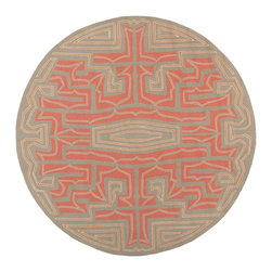 Surya - Hand-hooked Hilsboro Red Indoor/Outdoor Geometric Rug (8' x 8') - Meticulously hand-hooked,this indoor/outdoor Hilsboro rug features shades of red,terra cotta,pecan,khaki and frappuccino. Its unique design makes this rug a perfect addition to any home.
