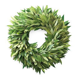 Bay Leaf Wreath - I have always loved the classic addition of a large bay wreath either inside the home or on the front door. Its basic color can pair well with all different types of decor.