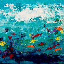 """Color Garden 2"" (Original) By Hilary Winfield - This Beautiful, Vibrant Painting Is From My Modern Expressionism Series. It Is An Original One Of A Kind Painting Created With Acrylic Paint On Gallery Wrapped Canvas. The Canvas Depth Is Approximately One Inch And The Painting Continues Around The Edges For Frame-Free Hanging."