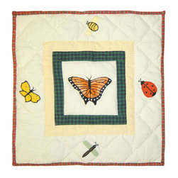 Patch Quilts - Bug Garden Toss Pillow 16 x 16 Inch - Decorative applique Quilted Pillow Bed and Home Ensembles and Bedding items from Patch Magic   - Machine washable  - Line or Flat dry only Patch Quilts - TPBUGG