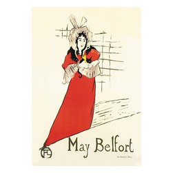"""Buyenlarge.com, Inc. - May Belfort (Irish Singer) - Canvas Poster 20"""" x 30"""" - Henri de Toulouse-Lautrec (1864 - 1901) was a French painter, printmaker, draftsman, and illustrator. The period he created his art was known as the Belle poque and his focus was on the decadence in Parisian society. Toulouse-Lautrec's poster of naughty lady-loving Irishwoman Miss May Belfort, originally Mary Egan from Mayo, Ireland: vaudeville singer, child impersonator and, for a brief fleeting moment in May 1895 (there are a lot of 'mays' in this post), the star of Parisian cafe society. May's slightly disturbing and thinly-veiled erotic act was performed wearing the dress of a little girl with large puffed sleeves and an enormous bonnet."""