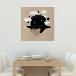 My Wonderful Walls - Enchanted Boy in Hat Decal Sticker – Dreaming Big by Florent Bodart, Large - - Product: decal of boy in an enchanted cloud-filled world