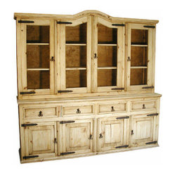 Mexican Artisans - Rustic Pine Cupboard - You'll be renowned for your dinner parties once you get the right piece to store the stuff it takes to entertain in style. This handsome hutch, hand-crafted from solid kiln-dried pine, boasts a natural finish, rustic iron hardware and ample space for dishes, linen and the like.