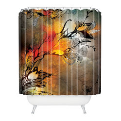 Iveta Abolina Before The Storm Shower Curtain - Red skies at night will be your delight. Black stylized flowers and tendrils pop against a dramatic color-washed background of grays and oranges on woven polyester. Get that approaching summer thunderstorm feeling anytime with this moody splash of color for your bath.
