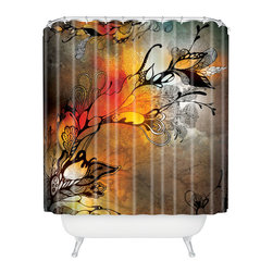 DENY Designs - Iveta Abolina Before The Storm Shower Curtain - Red skies at night will be your delight. Black stylized flowers and tendrils pop against a dramatic color-washed background of grays and oranges on woven polyester. Get that approaching summer thunderstorm feeling anytime with this moody splash of color for your bath.