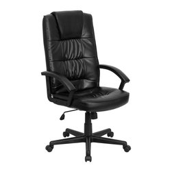 Flash Furniture - High Back Executive Swivel Office Chair w Arm - Thickly padded seat and back. Black leather upholstery. Heavy duty nylon arms. Spring tilt control mechanism. Tilt tension control. Heavy duty nylon base. Dual wheel casters. Warranty: 2 years limited. No assembly required. Back: 21 in. W x 28.5 in. H. Seat: 20.5 in. W x 20 in. D. Seat Height: 17.75 - 21.25 in.. Arm Height from Floor: 25 - 28.5 in.. Arm Height from Seat: 8.5 in.. Overall: 30 in. W x 25.75 in. D x 44.5 - 48 in. H (38 lbs.)