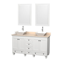 "Wyndham Collection - 60"" Acclaim White Double Vanity w/ Ivory Marble Top & Pyra White Porcelain Sink - Sublimely linking traditional and modern design aesthetics, and part of the exclusive Wyndham Collection Designer Series by Christopher Grubb, the Acclaim Vanity is at home in almost every bathroom decor. This solid oak vanity blends the simple lines of traditional design with modern elements like beautiful overmount sinks and brushed chrome hardware, resulting in a timeless piece of bathroom furniture. The Acclaim comes with a White Carrera or Ivory marble counter, a choice of sinks, and matching mirrors. Featuring soft close door hinges and drawer glides, you'll never hear a noisy door again! Meticulously finished with brushed chrome hardware, the attention to detail on this beautiful vanity is second to none and is sure to be envy of your friends and neighbors"