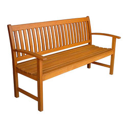 International Caravan - Corwin 67 in. Outdoor Patio Garden Bench - Complete weatherproof protection and UV light protection. Can also be used for commercial. Cushion not included. Sits 3 persons comfortably. Elegant slat back design. Garden bench. Very heavy and durable. Can also be used for commercial. Made from premium balau hardwood. Stain finish. 66.6 in. L x 26.4 in. D x 37.1 in. H