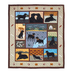 Patch Quilts - Black Lab Quilt King 105 x 95 - - Intricately appliqued and beautifully hand quilted.Bedding ensemble from Patch Magic  - The Name for the finest quality quilts and accessories  - Machine washable.Line or Flat dry only Patch Quilts - QKBLAB
